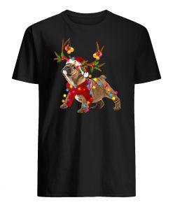 Santa bulldog gorgeous reindeer christmas lights mens shirt
