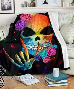 Sign language skull blanket