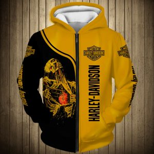Skull art harley-davidson motorcycle all over printed zip hoodie