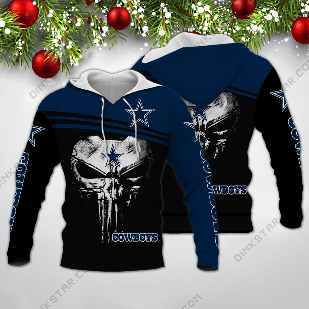 Skull dallas cowboys all over print hoodie