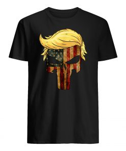 Skull with iconic trump hair president flag america mens shirt