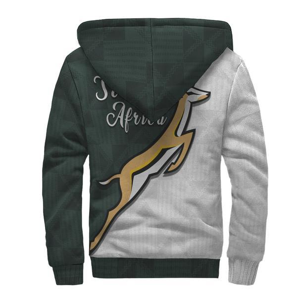 South africa springboks forever full printing fleece hoodie - back