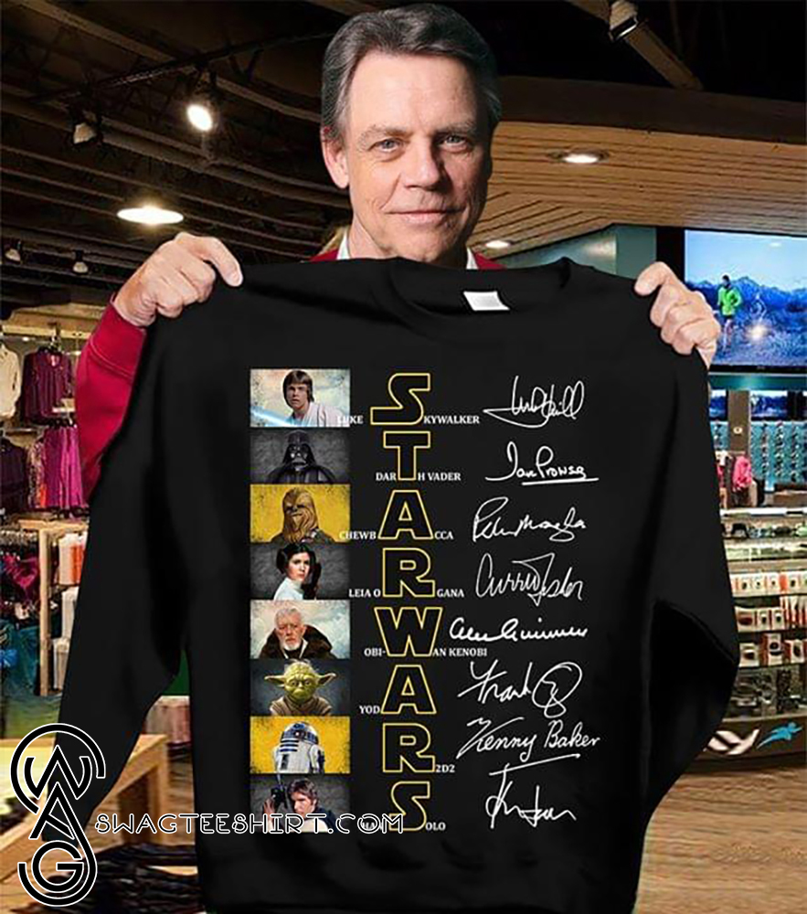 Star war characters signatures shirt
