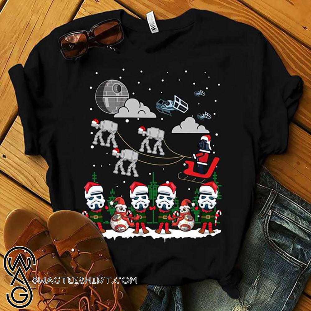 Star wars darth vader and stormtroopers sleigh deathstar christmas shirt