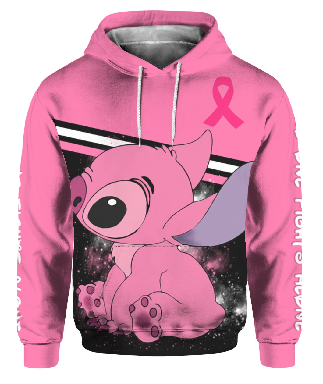 Stitch breast cancer awareness all over print hoodie 1