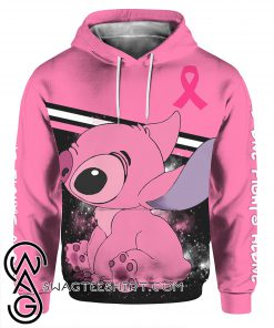 Stitch breast cancer awareness all over print hoodie