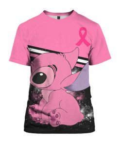 Stitch breast cancer awareness all over print tshirt