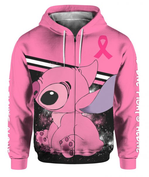 Stitch breast cancer awareness all over print zip hoodie