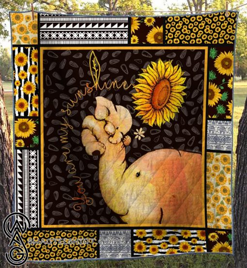 Sunflower your are my sunshine elephant quilt
