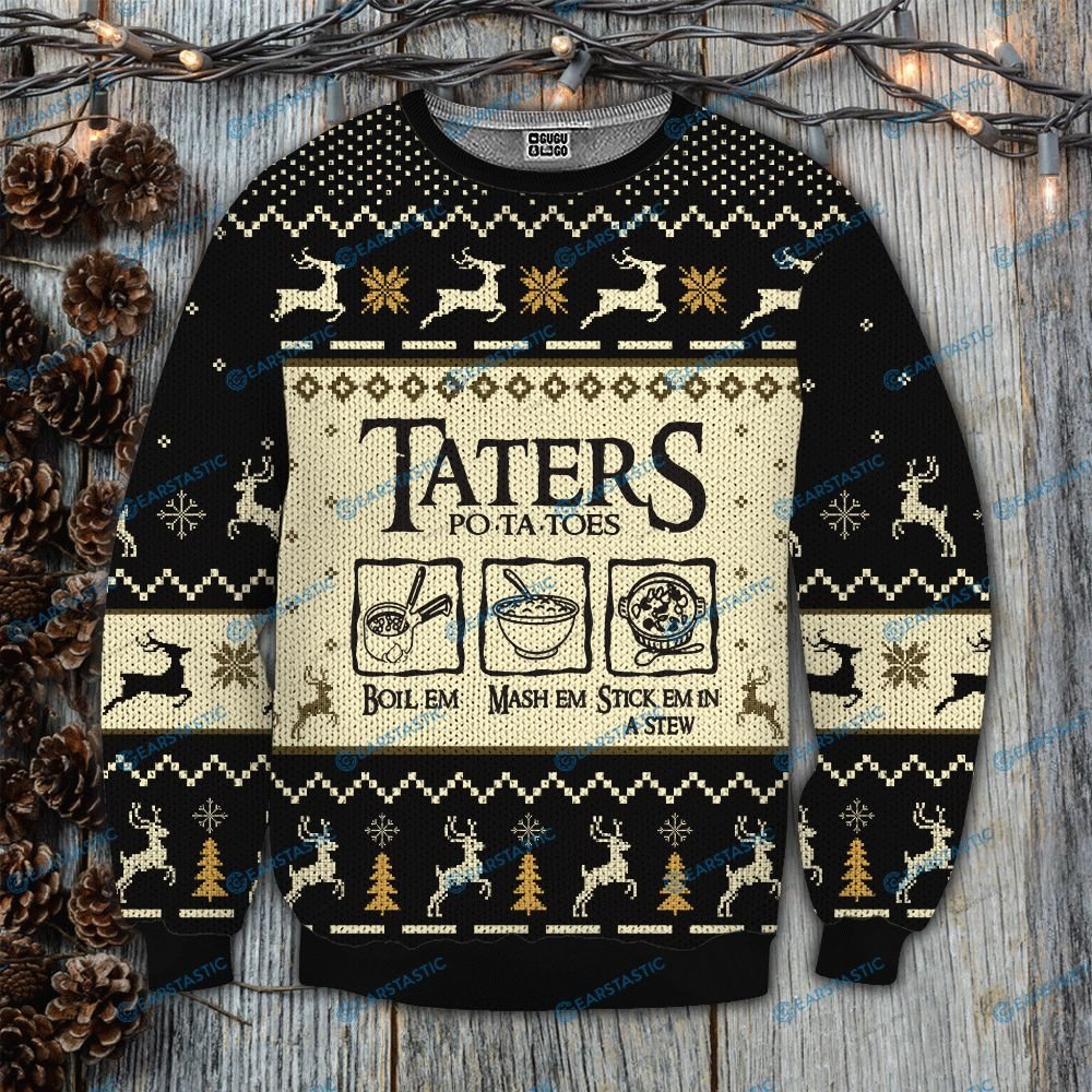 Taters po-ta-toes recipe lord of the rings ugly christmas sweatshirt 1