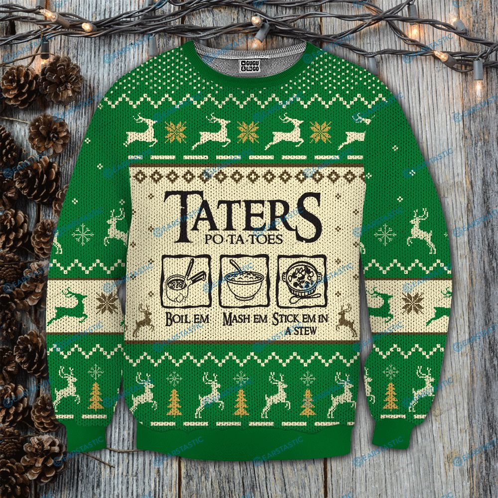 Taters po-ta-toes recipe lord of the rings ugly christmas sweatshirt 3