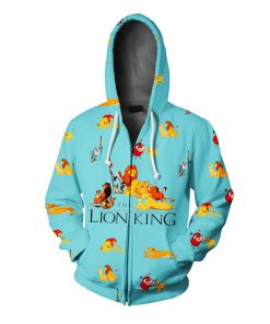 The lion king all over printed zip hoodie