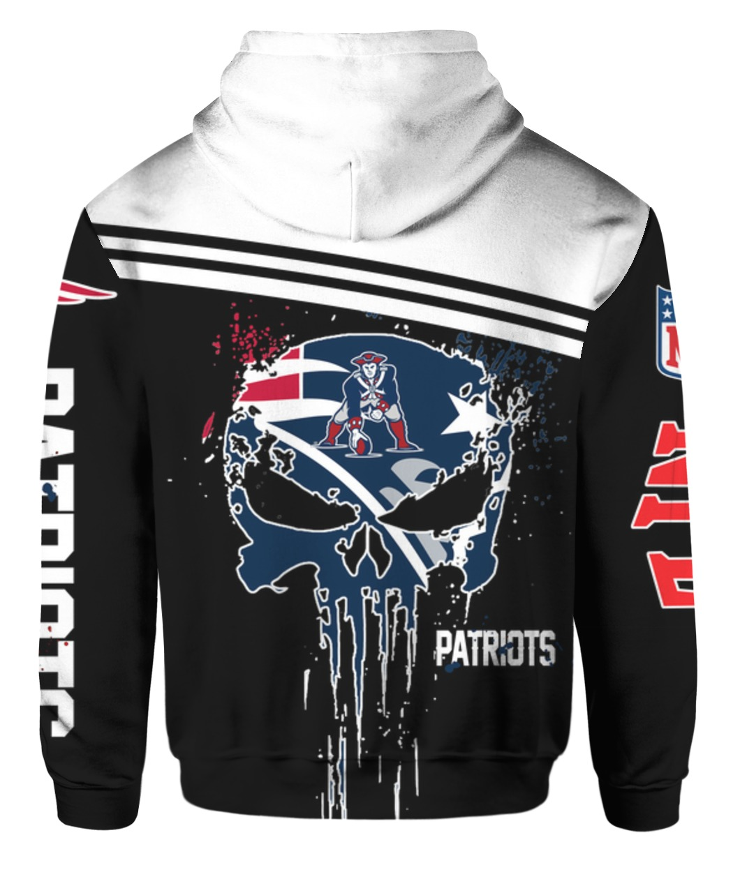 The punisher new england patriots full printing hoodie - back