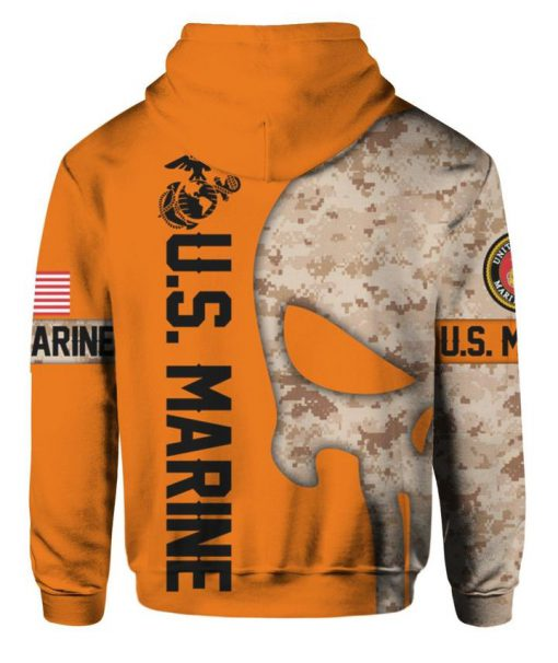 US marine corps the punisher all over print hoodie - back