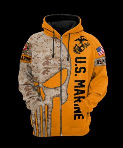US marine corps the punisher all over print zip hoodie