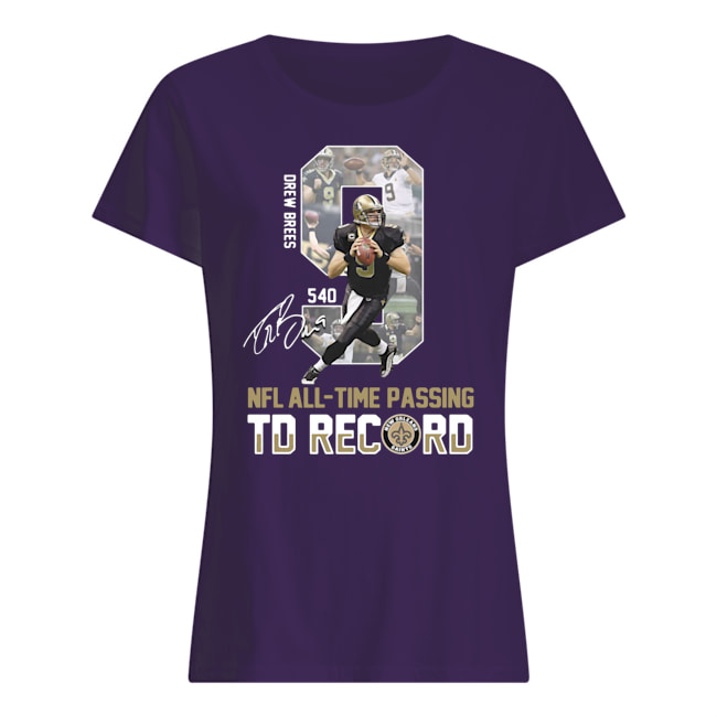 9 drew brees nfl all-time passing to record signature womens shirt