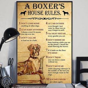 A boxer's house rules poster