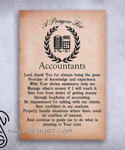 A prayer for accountants lord thank you for always being the great provider poster