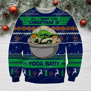 All i want for christmas is you baby yoda full printing ugly christmas sweater 2