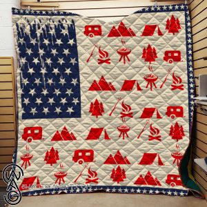 American flag camping quilt