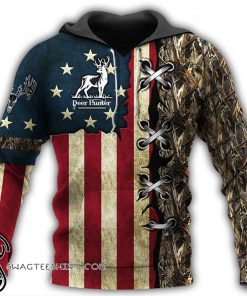 American flag deer hunting camo full printing shirt