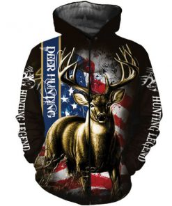 American flag hunting deer hunter all over print zip hoodie