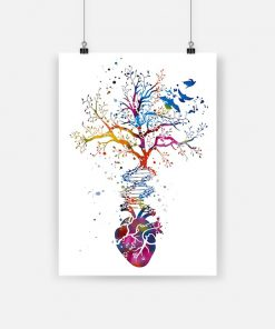 Anatomy of human heart dna tree colorful heart poster 1