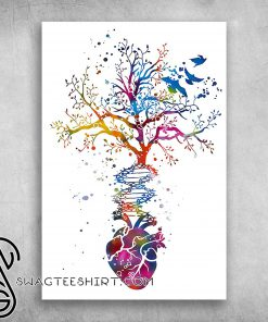 Anatomy of human heart dna tree colorful heart poster