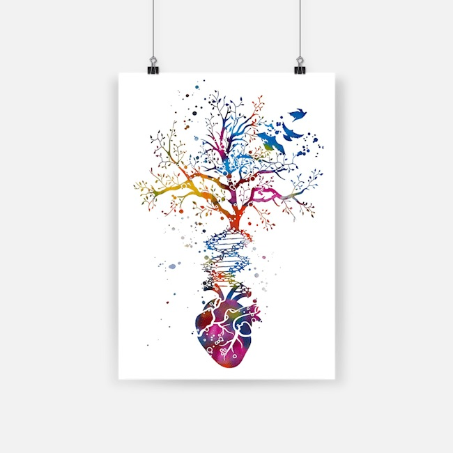 Anatomy of human heart dna tree colorful heart poster 4