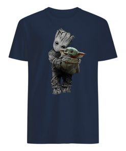 Baby groot hold baby yoda mens shirt