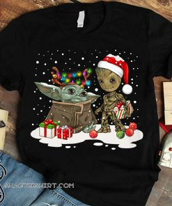 Baby yoda and baby groot christmas shirt