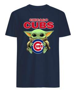Baby yoda hug chicago cubs mens shirt