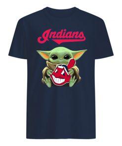 Baby yoda hug cleveland indians mens shirt