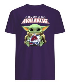 Baby yoda hug colorado avalanche mens shirt