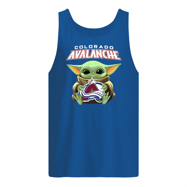 Baby yoda hug colorado avalanche tank top