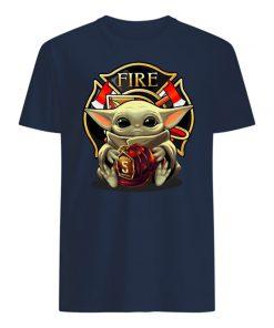 Baby yoda hug firefighter mens shirt