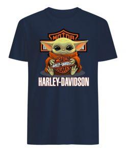 Baby yoda hug harley-davidson mens shirt
