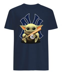 Baby yoda hug new york yankees mens shirt