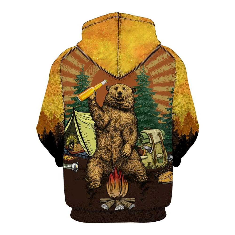 Bear beer because no great camping story with a salad all over printed hoodie 1