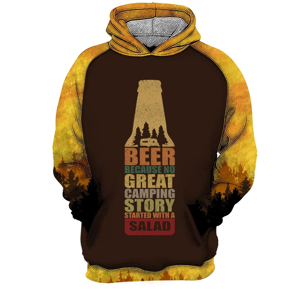 Bear beer because no great camping story with a salad all over printed hoodie