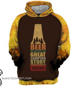 Bear beer because no great camping story with a salad all over printed shirt