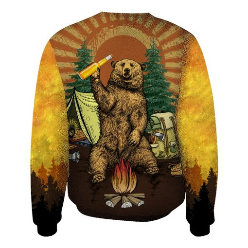 Bear beer because no great camping story with a salad all over printed sweatshirt 1