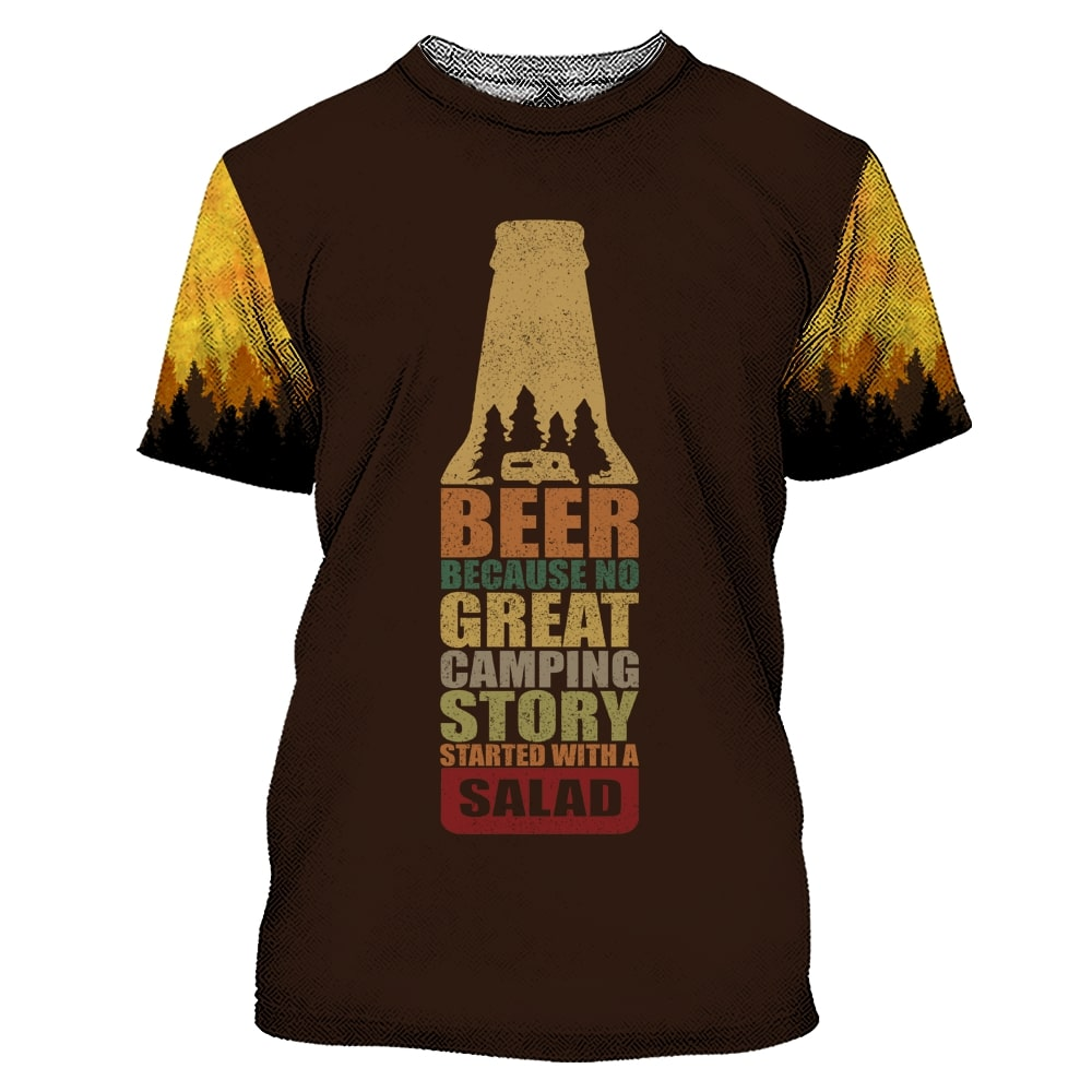 Bear beer because no great camping story with a salad all over printed tshirt 1
