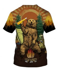 Bear beer because no great camping story with a salad all over printed tshirt
