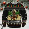 Bear beer camping i hate people full printing ugly christmas sweater