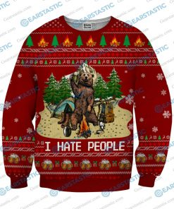 Bear beer camping i hate people full printing ugly christmas sweater 3