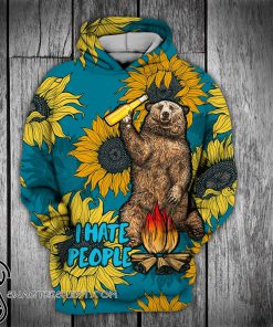 Bear beer camping i hate people sunflower full printing shirt