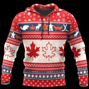 Christmas canada maple leaf full printing ugly christmas hoodie
