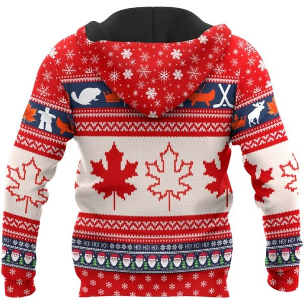 Christmas canada maple leaf full printing ugly christmas hoodie - back