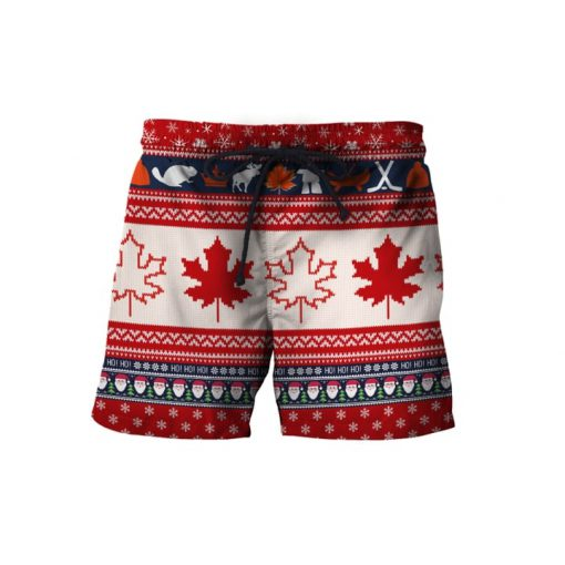 Christmas canada maple leaf full printing ugly christmas shorts